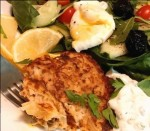 Salmon Latke with fork