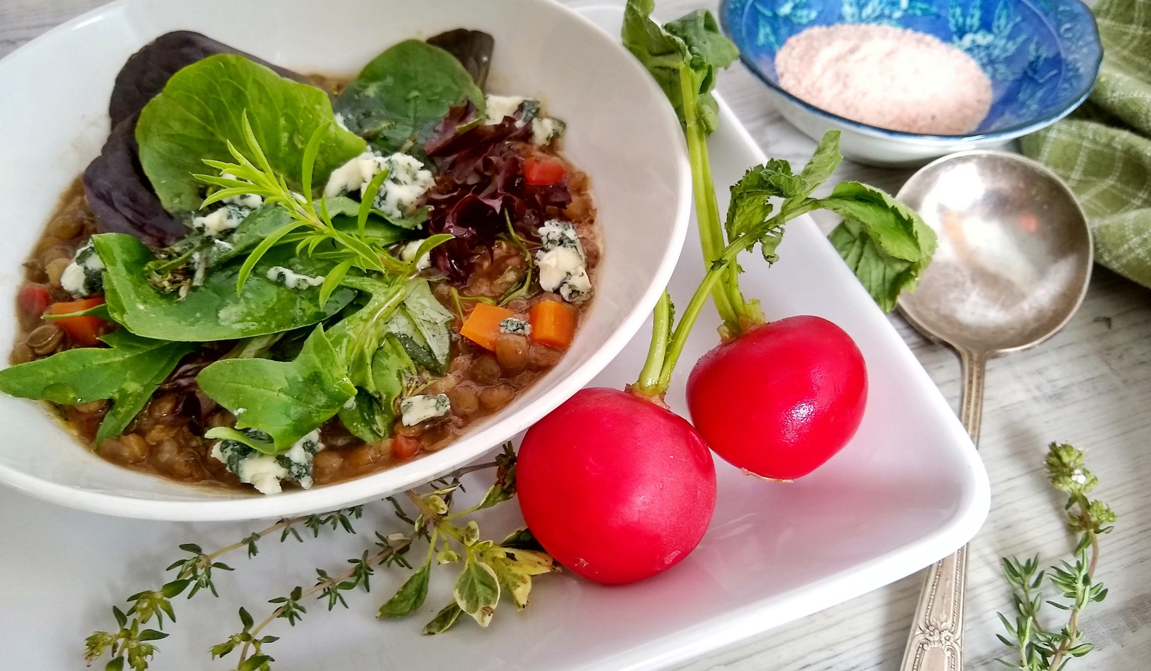 Lentil soup salad close